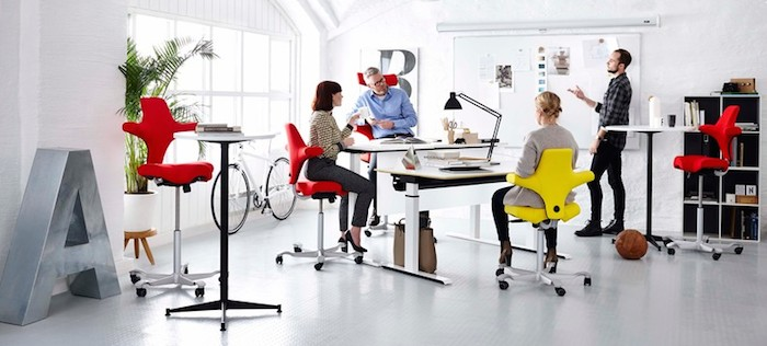 The Capisco ergonomically designed chair is good for the office as well