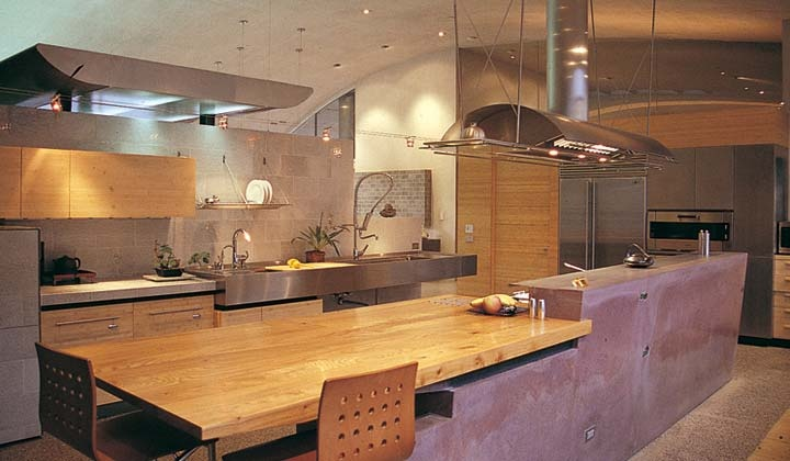 Fu Tung Cheng concrete kitchen design with Zephyr's Trapeze Ventilation Hood