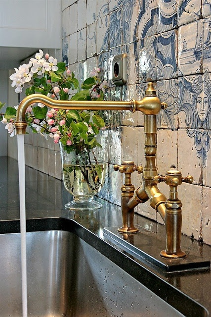 brass plumbing fixtures in a traditional silhouette-image via the Essence of the Good Life