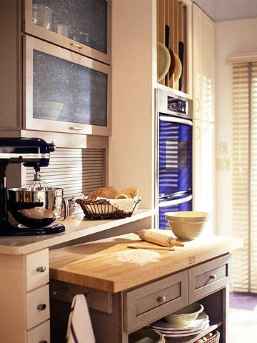 why not add a pull out counter cum island for added work space-image via Better Homes and Garden