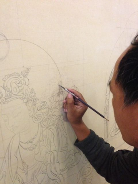 Tashi, a Thangka Master at work in his studio