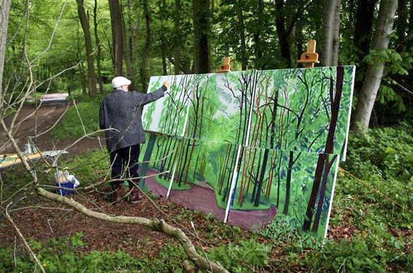 David Hockney painting a relatively small piece-image via This Girl Lel
