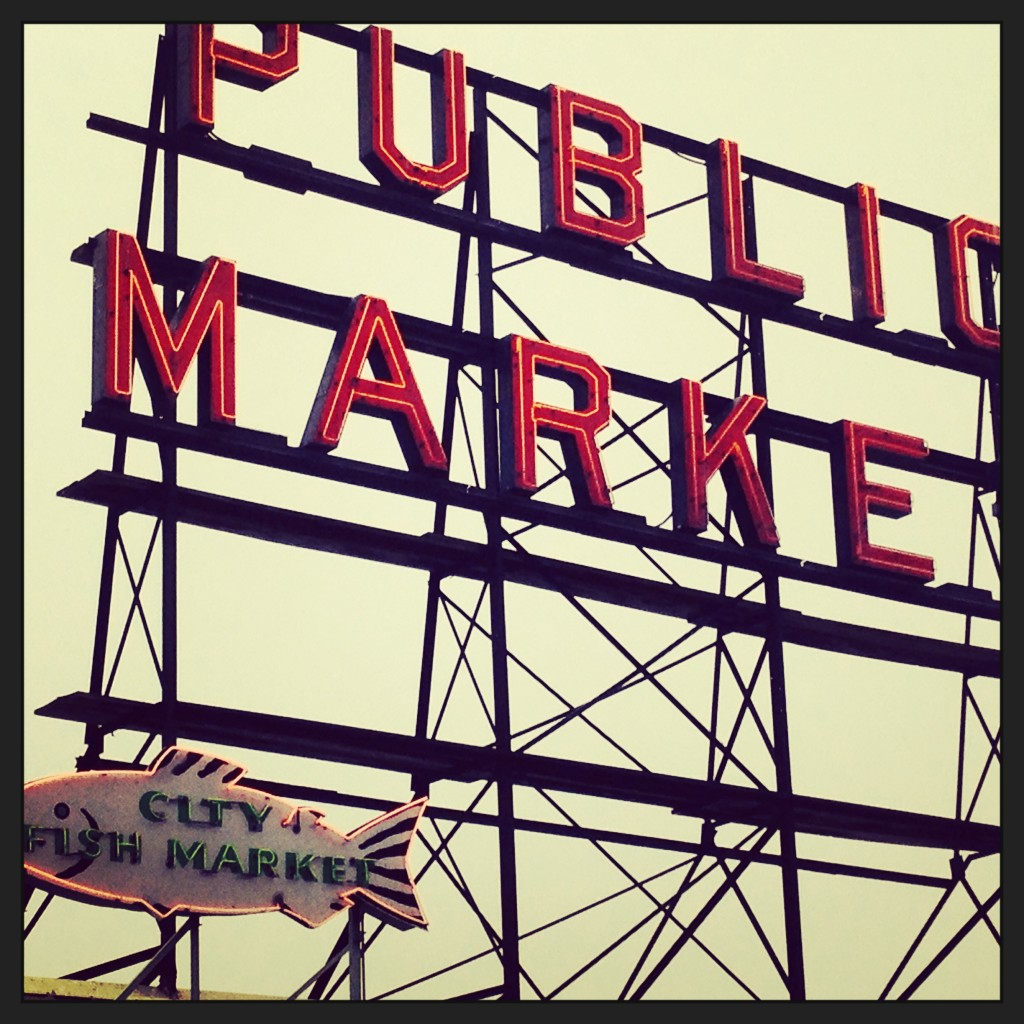 The famous Pike Market sign-Miele Seattle Food Tour