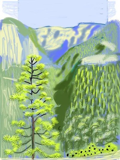 Yosemite Landscape by David Hockney on his iPad-image via Shapes of the 80s