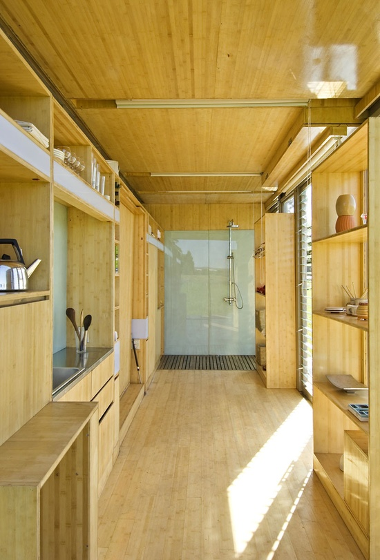 clean and modern this container has everything from a murphy bed to modern bathroom, via inthralid