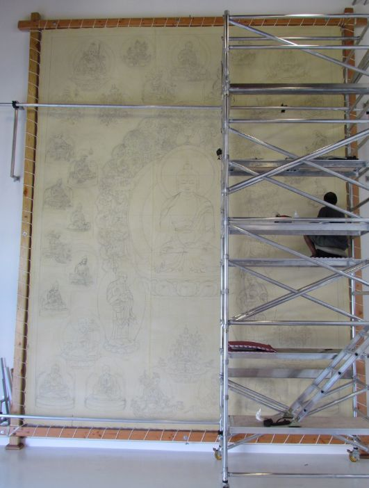 Thangka Master Tashi, working on his thanbhochi-image via his pinterest boards