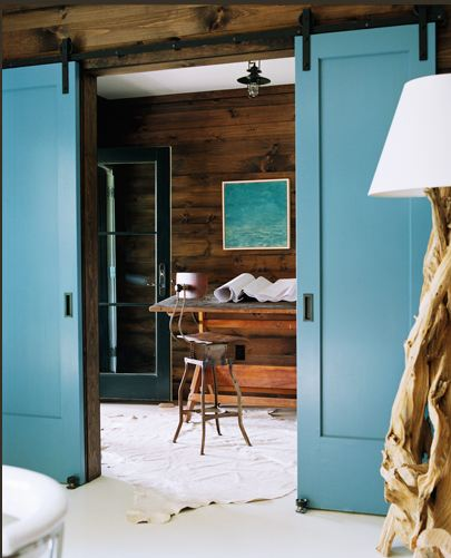 meyer davis studio inc blue barn doors indoor interior Barn Doors