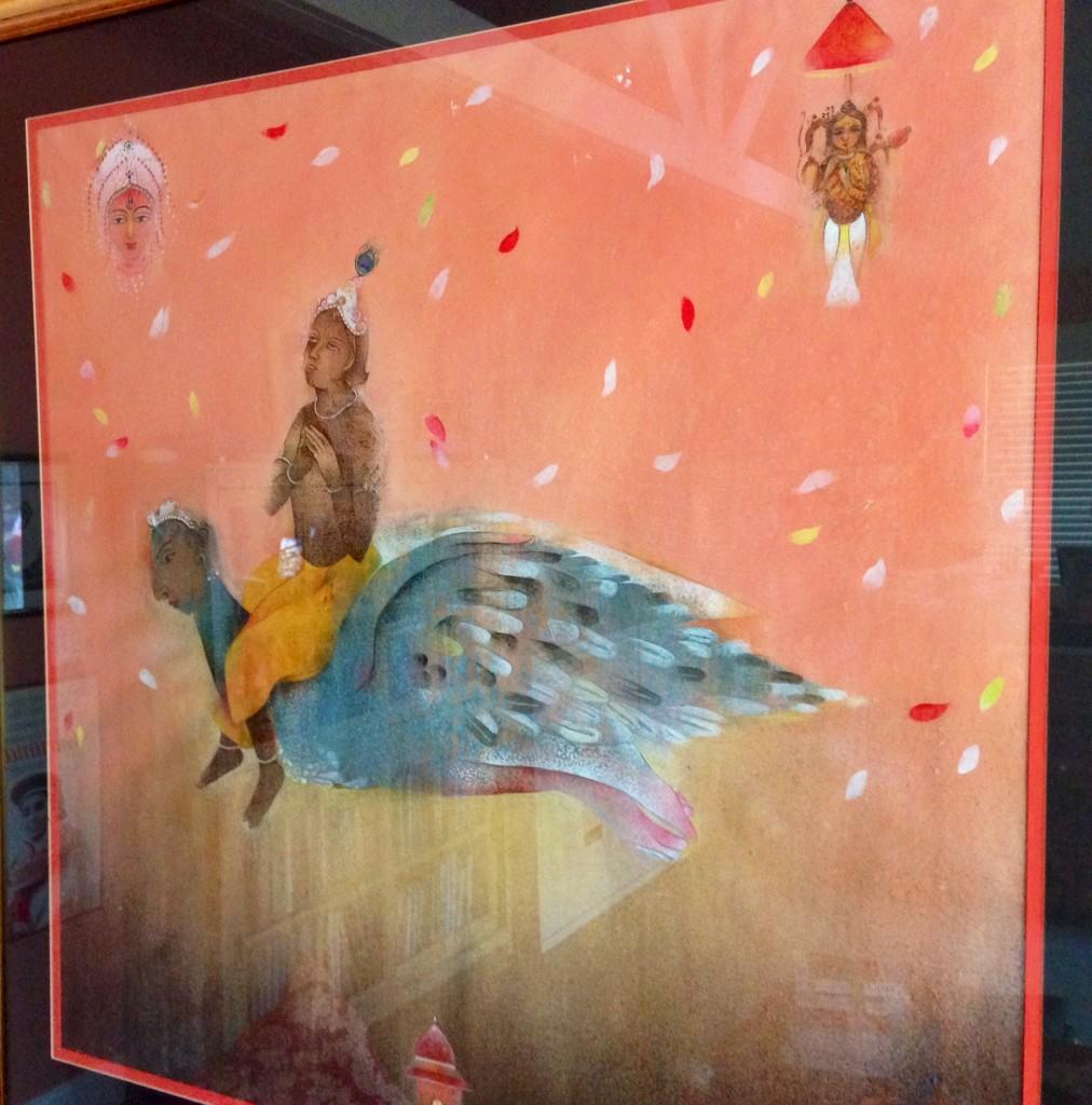 Lord Vishnu riding Garuda by contemporary Indian Artist Siddhartha Sengupta