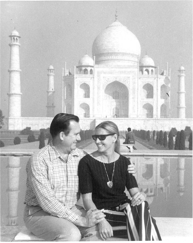 My parents in front of the Taj Mahal
