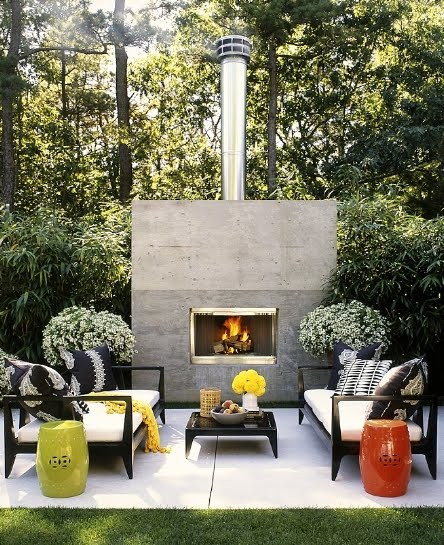 roger davies outdoor living room large modern fireplace black grey Outdoor Living Space Sonoma Style
